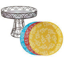 "Temp-tations Floral Lace Wire Cake Pedestal with (4) 11"" Trivets - H208592"