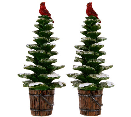 "Set of 2 9"" Snowy Trees with Cardinals by Valerie"