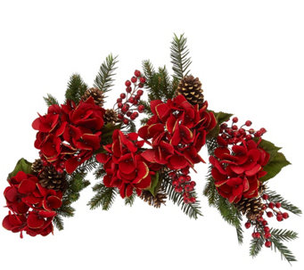 4' Glitter Velvet Hydrangea and Pinecone Garland - H209592