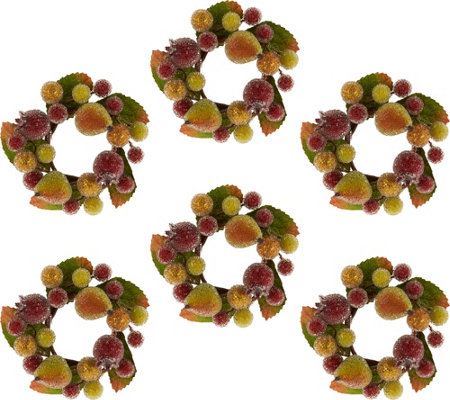 "Set of 6 3.5"" Beaded Fruit Rings by Valerie"