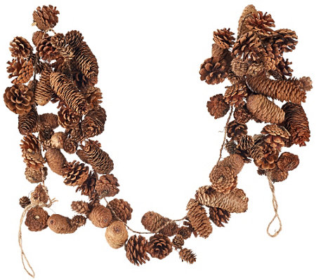 """As Is"" ED On Air Natural Rustic 5' Pinecone Garland"