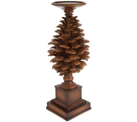 """As Is"" 14.5"" Pinecone Candle Holder Pedestal"