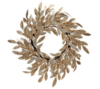 """As Is"" 22"" Sparkling Glittered Bay Leaf Wreath by Valerie - H211092"
