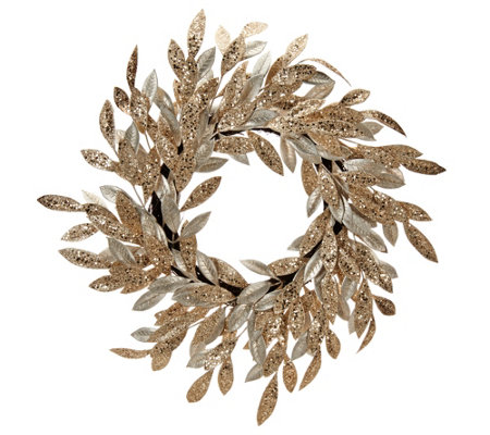 """As Is"" 22"" Sparkling Glittered Bay Leaf Wreath by Valerie"