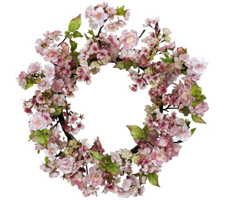 "24"" Cherry Blossom Wreath by Nearly Natural"