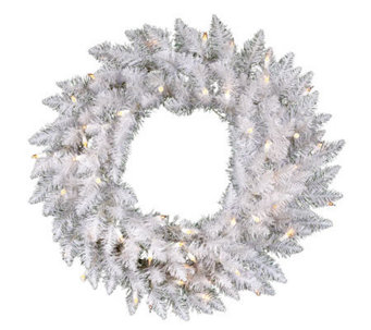 "30"" White Sparkle Spruce Wreath w/ Clear Dura-Lit Lights - H364092"