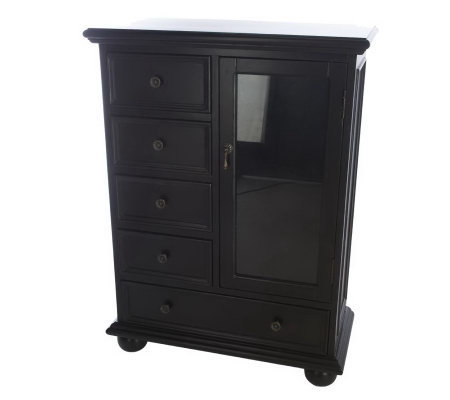 HomeReflections Antique Finish Accent Curio Cabinet with Five Drawers