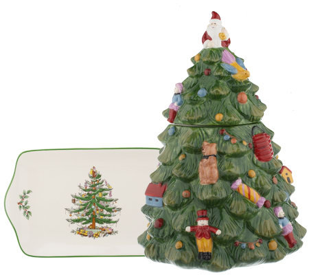 Spode Christmas Tree Cookie Jar & Plate Set - Page 1 — QVC.com