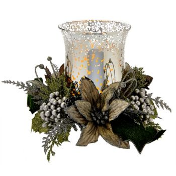 Illuminated Vintage Glass Hurricane with Floral Ring by Valerie
