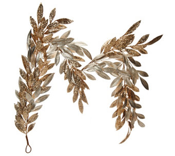 """As Is"" 5' Sparkling Glittered Bay Leaf Garland by Valerie - H211093"