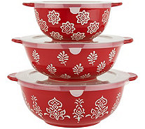 Cook's Essentials Madison 3-pc Ceramic Bowls with Lids - H211393
