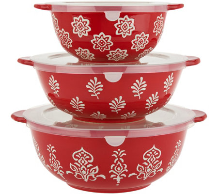 Cook's Essentials Madison 3-Pc Ceramic Bowls with Lids