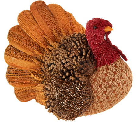 "9"" Decorative Sisal Turkey with Pinecone Accents"