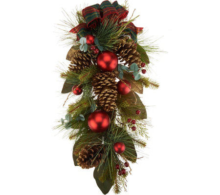 "28"" Mixed Pine, Berry, and Pinecone Teardrop by Valerie"