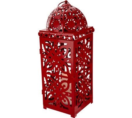 "Dennis Basso 20"" Pierced Lantern with Flameless Candle & Timer"