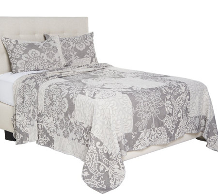 """As Is"" 100% Cotton Jacquard Patchwork Design Bedspread"