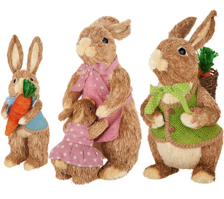 3 Piece Sisal Bunny Family with Mom, Dad and Child by Valerie