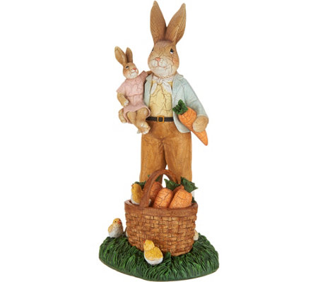 Father Bunny w/ Carrot Basket Spring Figurine by Valerie