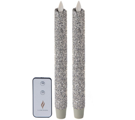 "Luminara Set of (2) Vintage Glitter 8"" Taper Candles & Remote"