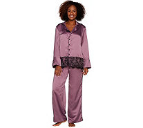 """As Is"" Casa Zeta-Jones Faux Silk Pajama Set w/Lace Trim - H215893"