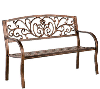 Plow U0026 Hearth Blooming Garden Cast Aluminum Bench   H286993 Part 44