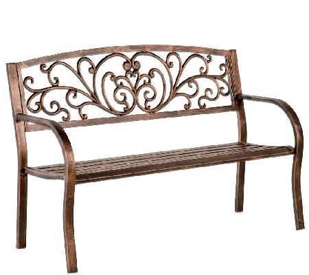 Plow & Hearth Blooming Garden Cast Aluminum Bench
