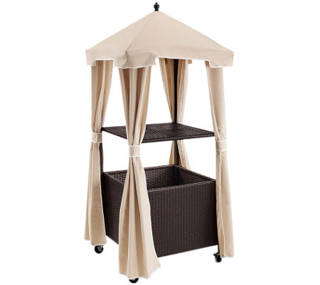 Palm Harbor Outdoor Wicker Towel Valet with Cover