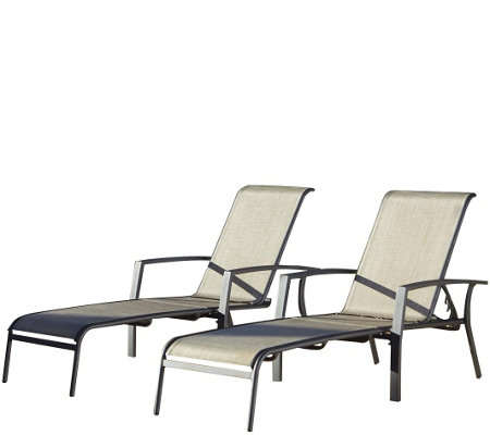Cosco serene ridge set of 2 aluminum chaise lounges for Chaise longue textilene alu