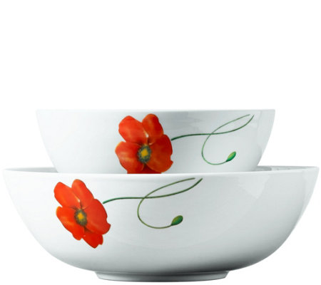 Tabletops Gallery 2-Piece Poppy Round Serving Bowl Set