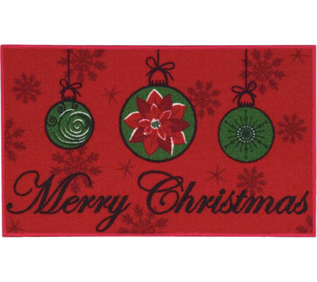 "Nourison Essential 17"" x 28"" Merry Christmas Light Red Rug"