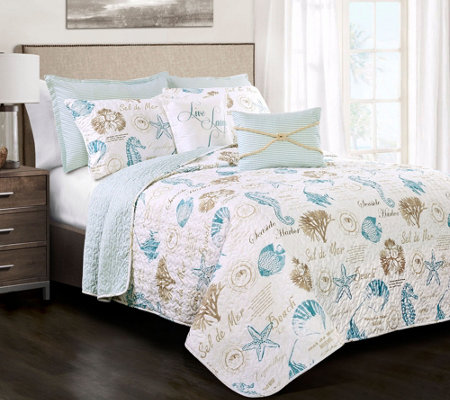 Harbor Life Blue/Taupe 7-Piece King Quilt Set by Lush Decor