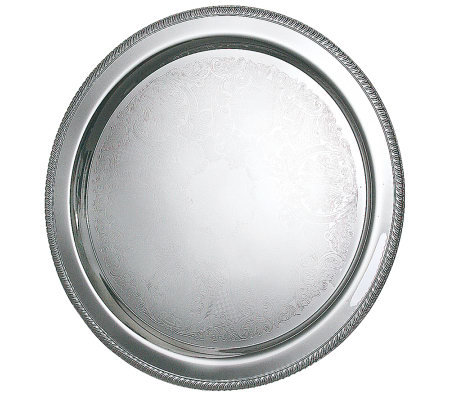"Silvertone 20"" Round Fancy Edge Tray"