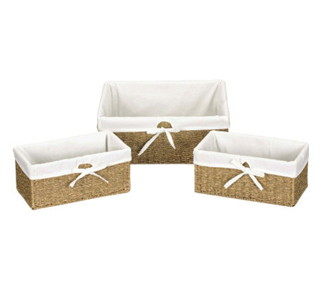 Household Essentials Seagrass Utility Baskets -Set of 3