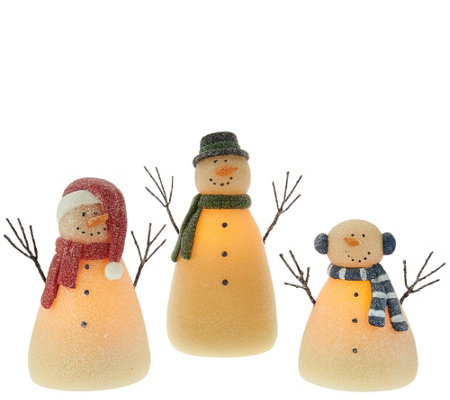 3-piece Illuminated Snowman Family by Candle Impressions