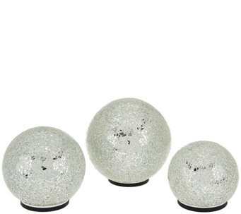 Set of 3 Illuminated Indoor/Outdoor Mosaic Spheres by Valerie - H208694