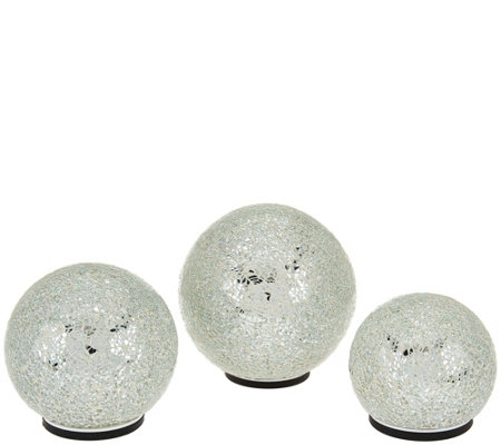 Set of 3 Illuminated Indoor/Outdoor Mosaic Spheres by Valerie
