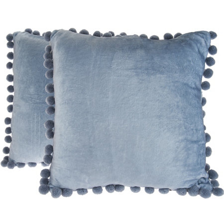 Isaac Mizrahi Live! Home Set of 2 Dec Pillows with Pom Poms