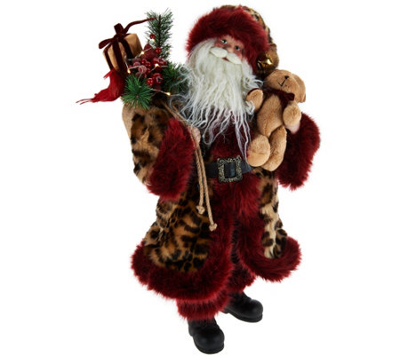 "Dennis Basso 20"" Talking Santa Claus w/ Faux Fur Trim"