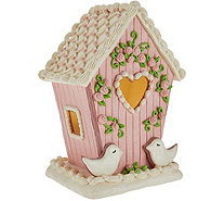 Illuminated Birdhouse with Floral Accents by Valerie - H210694