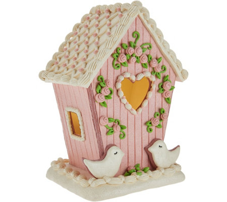 Illuminated Birdhouse with Floral Accents by Valerie