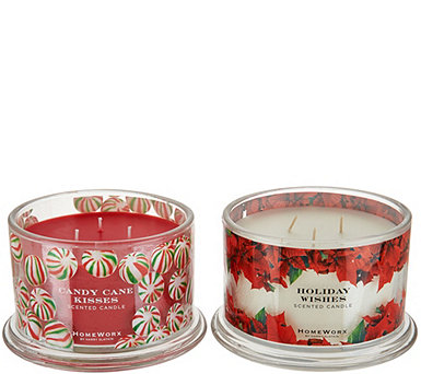 HomeWorx by Harry Slatkin S/2 Scented Deluxe 3 Wick Candles - H211394