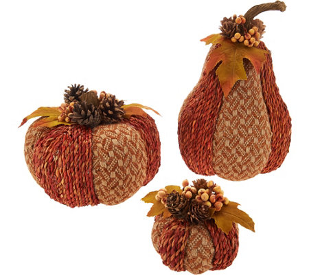 Set of 3 Woven Pumpkins and Gourds by Valerie