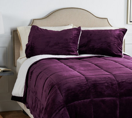 Berkshire Twin Velvet Soft Reverse to Sherpa Comforter Set