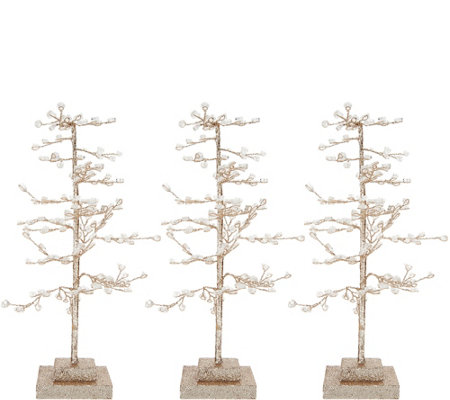 """As Is"" Set of 3 Sparkling Diamond Ice Trees by Valerie"