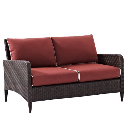 Crosley Kiawah Outdoor Wicker Love Seat with Sangria Cushions