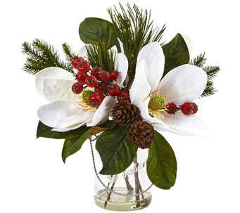 Magnolia, Pine, and Berry in Glass Vase byNearly Natural - H290594