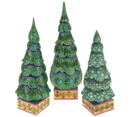 Jim Shore Heartwood Creek Set of 3 Christmas Trees - Page 1 — QVC.com