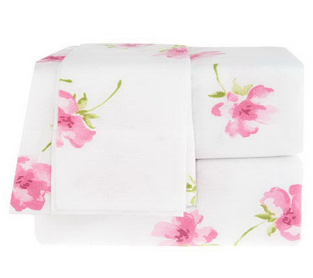 Northern Nights Alexa Floral King Flannel Sheet Set