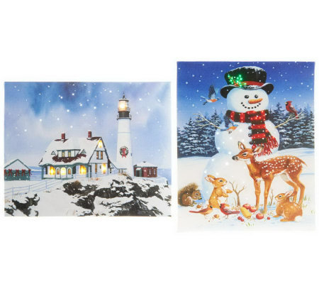 """As Is"" Illuminart Set of 2 Christmas Canvas Art with Built-in Easel"