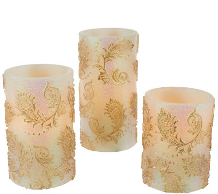 Set of 3 Embossed Flameless Candle Pillars by Valerie